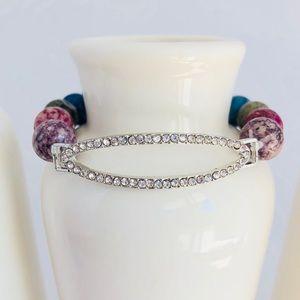 Handmade Multi-colored Agate CZ Beaded Bracelet